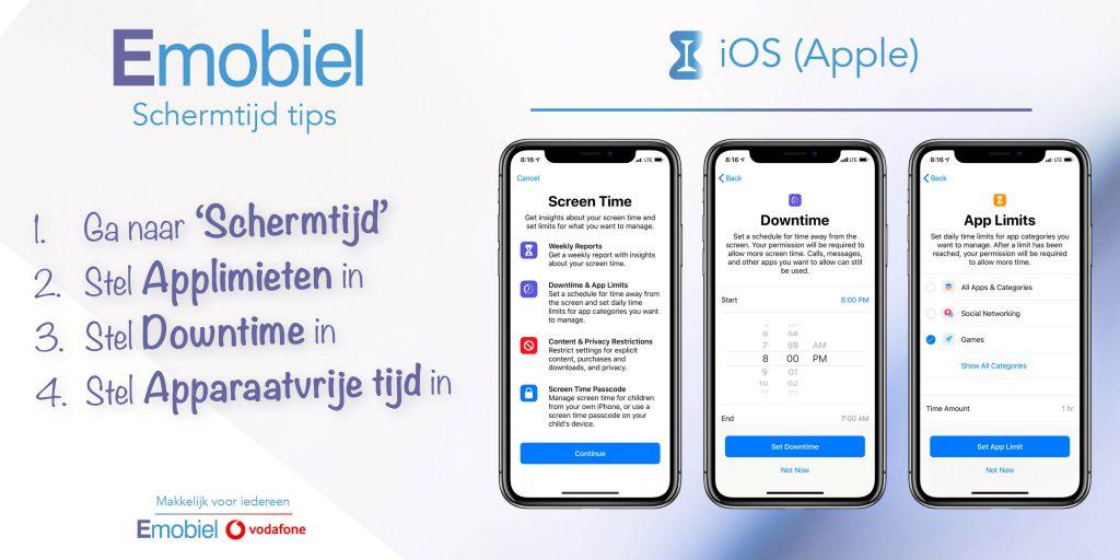 Emobiel Schermtijd tips iOS iPhone